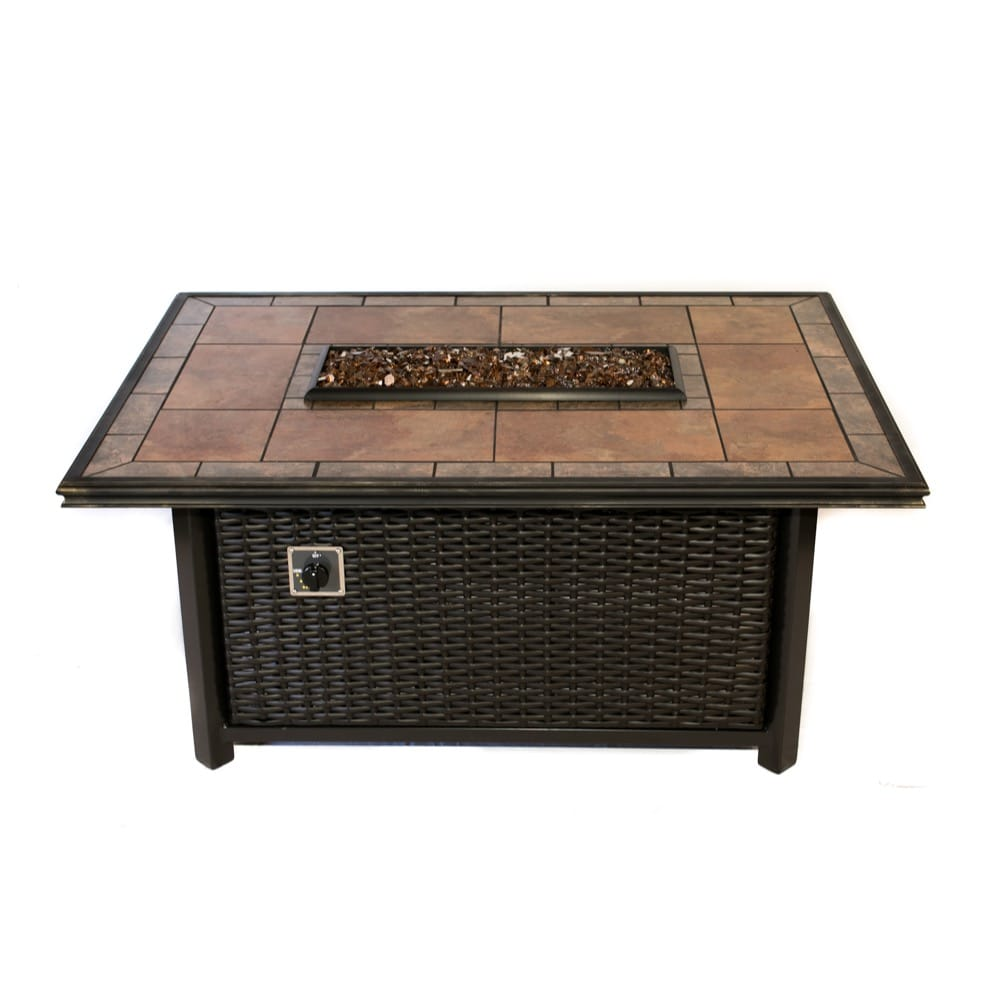 54x39 inch Linear Wicker Fire Pit