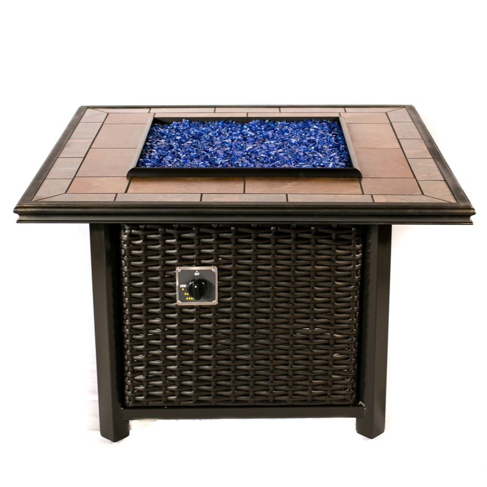 Tretco 39 inch Square Wicker Fire Pit