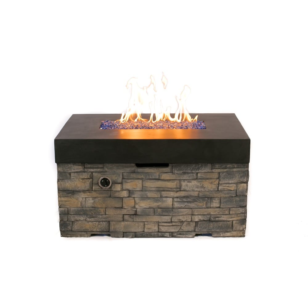 Tretco Linear Stacked Stone Fire Pit Table - FP-C-36x42-BK