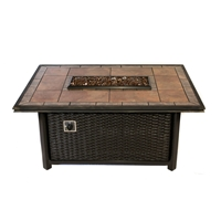 Tretco 54 inch Linear Wicker Fire PitTable