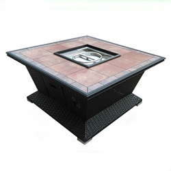 48 inch Square Wicker Fire Pit