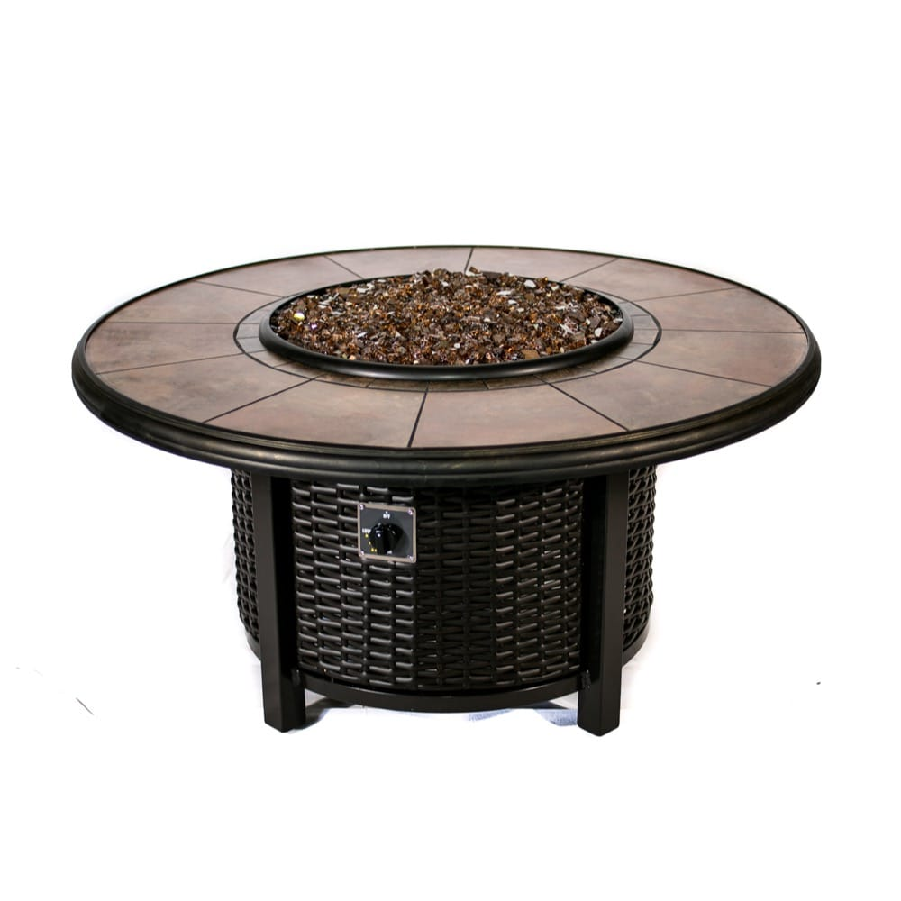 Tretco 43 inch Round Wicker Fire Pit Table